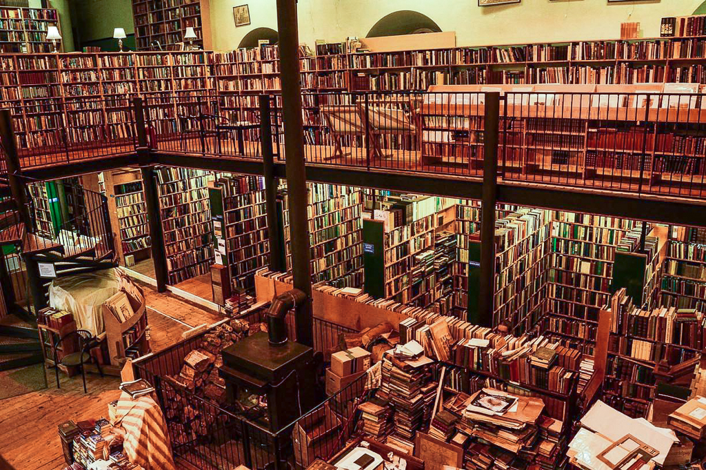 Image is Leakey's Bookstore in Church Street, Inverness. A second hand book shop located in a former church hall.