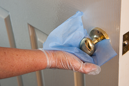 Picture of cleaning and disinfecting shared areas of the guest house in Inverness
