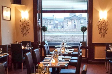An image of the interior of McBains by the River Restaurant, on the bank of the River Ness, Inverness, Scottish Highlands