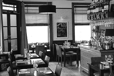 Black and white image of the interior of Riverhouse Restaurant, Greig Street, Inverness, Scottish Highlands