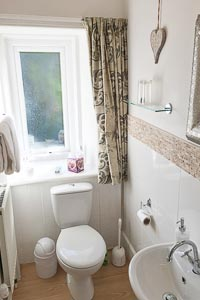 Picture of the Super King Room 4 Shower Room ensuite, showing the WC and wash hand basin.