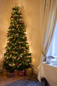 A beautiful large Christmas tree covered in fairy lights in The Ness Guest House breakfast room