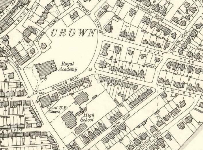 A closeup of The Crown area map of Inverness, Scottish Highlands