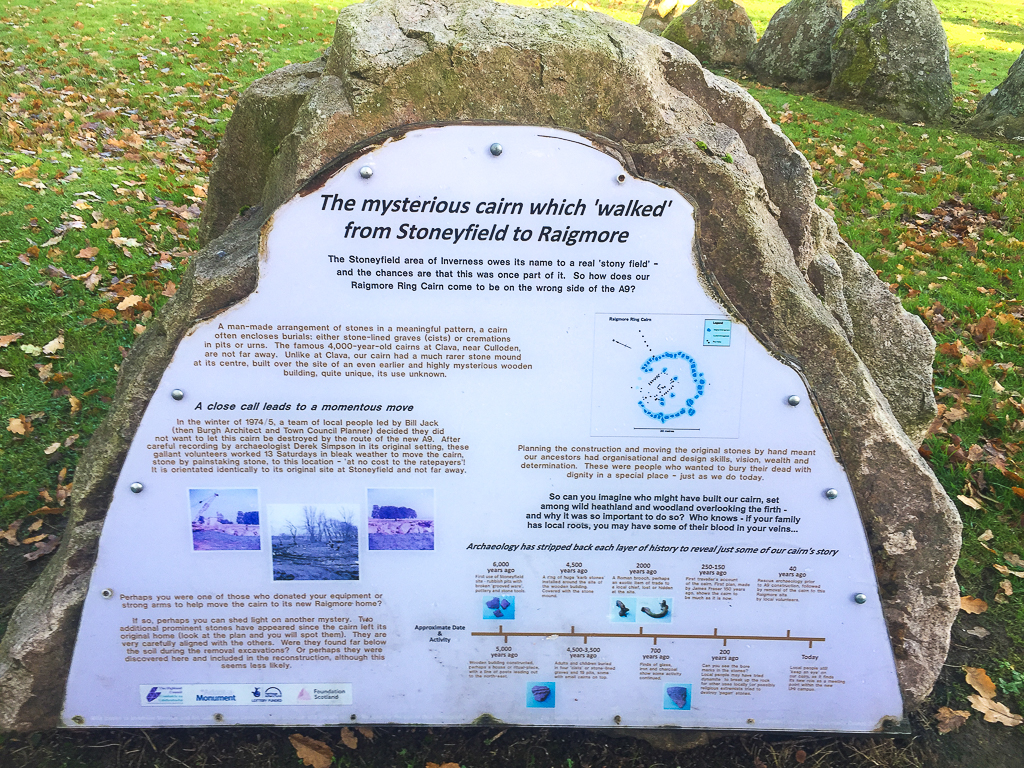 A picture of an info panel for Raigmore Cairn, Inverness